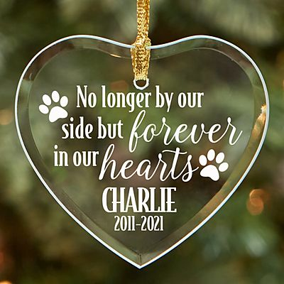 Pet Memorial Glass Heart Ornament
