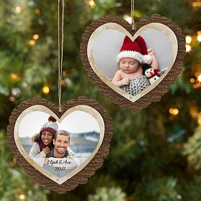 Picture Perfect Photo Rustic Wood Heart Ornament