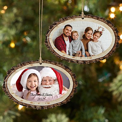 Picture Perfect Photo Rustic Wood Oval Ornament