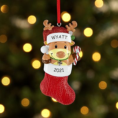 Reindeer in Stocking Ornament