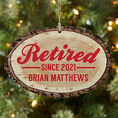 Retired Rustic Wood Oval Ornament