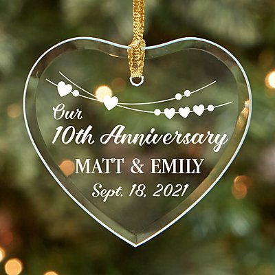 Romantic Celebration Glass Heart Ornament