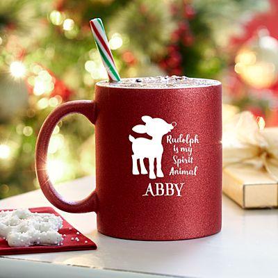 Rudolph®  is My Spirit Animal Red Glitter Mug