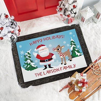 Rudolph® & Santa Holiday Doormat