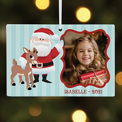 Rudolph® & Santa Photo Rectangle Ornament