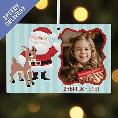 Rudolph® & Father Christmas Photo Rectangle Bauble