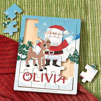 Rudolph® & Santa Wooden Puzzle