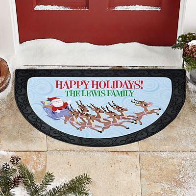 Rudolph® Christmas Sleigh Half Round Doormat