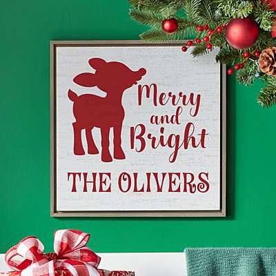 Rudolph® Merry and Bright Shimmer Wood Wall Art