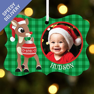 Rudolph® Photo Scroll Bauble