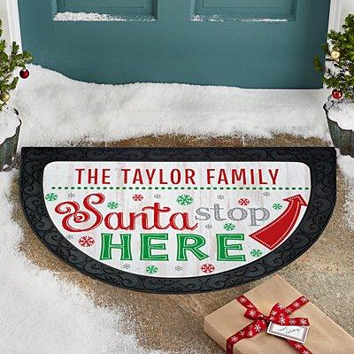 Santa Stop Here Half Round Doormat