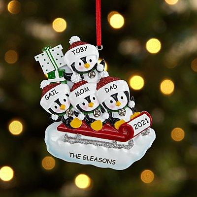 Sledding Penguin Family Ornament