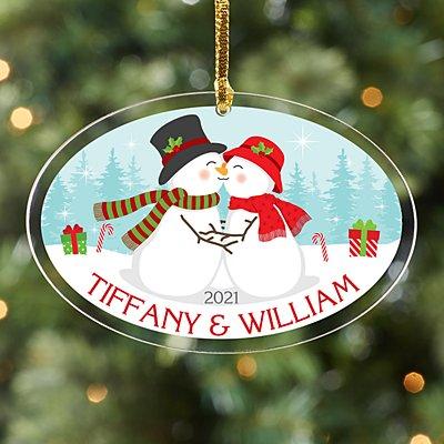 Smooching Snowman Acrylic Oval Ornament