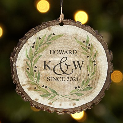 Sophisticated Couple Rustic Wood Round Ornament