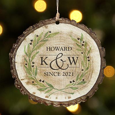 Sophisticated Couple Rustic Wooden Round Bauble