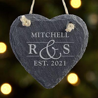 Sophisticated Couple Slate Heart Ornament