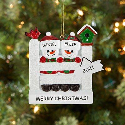 Sparkling Snowman Couple Ornament