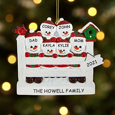 Sparkling Snowman Family Ornament