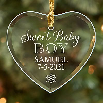 Sweet Baby Glass Heart Ornament