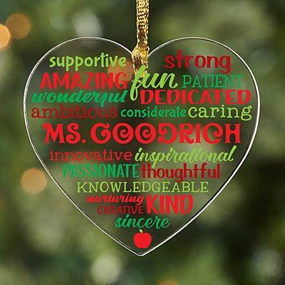 Teacher Acrylic Heart Ornament
