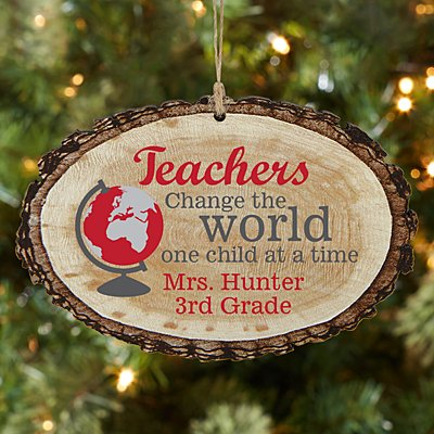 Teachers Change the World Rustic Wood Oval Ornament