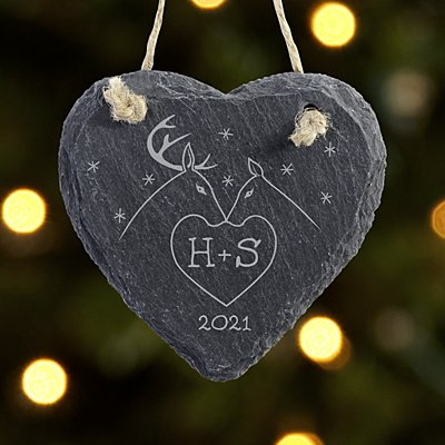 Two Deer in Love Couple Slate  Heart Ornament