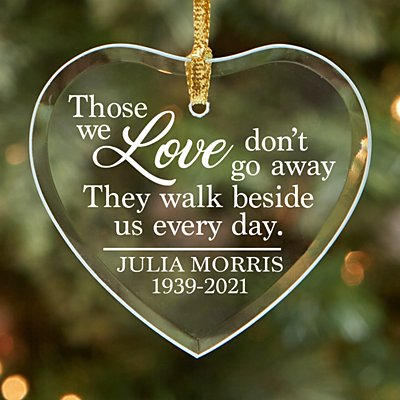 Walk Beside Us Memorial Glass Heart Ornament