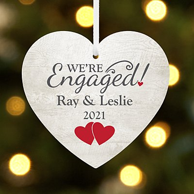 We're Engaged Heart Ornament