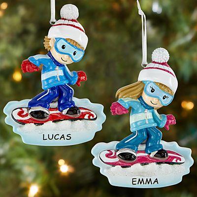 Wintertime Fun Snowboarder Ornament