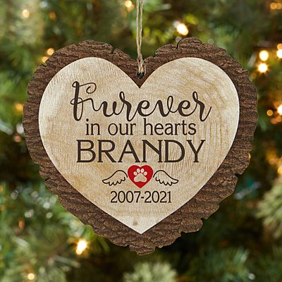Furever in Our Hearts Pet Rustic Wood Heart Ornament