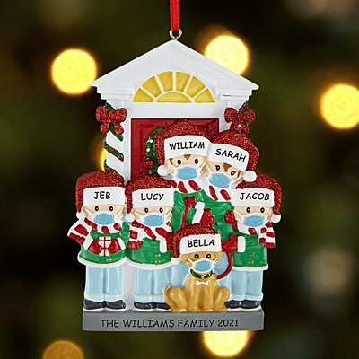 Bark the Halls Family with Masks Ornament