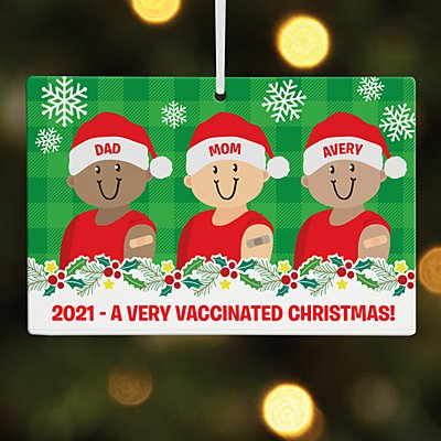 Holiday Vaccinated Family Rectangle Ornament