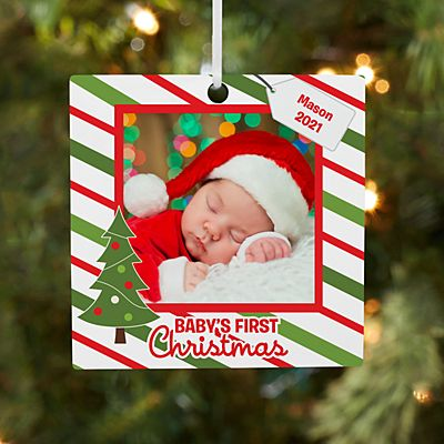 Baby's First Christmas Photo Square Ornament