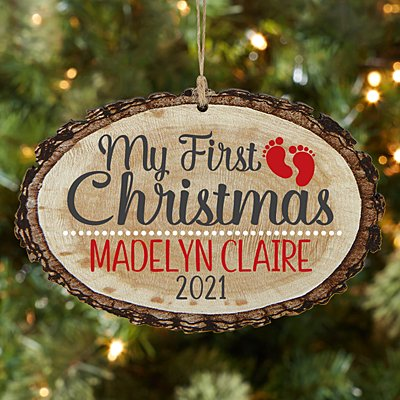 Baby's First Christmas Rustic Wood Oval Ornament