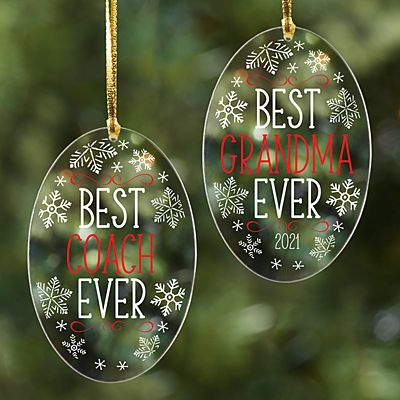 Best Ever Acrylic Oval Ornament