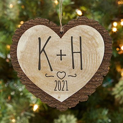 Carved Initials Rustic  Wood Heart Ornament