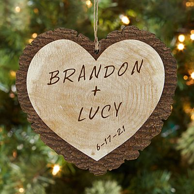 Carved Names Rustic Wood Heart Ornament