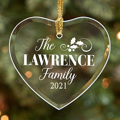 Elegant Holly Family Glass Heart Ornament