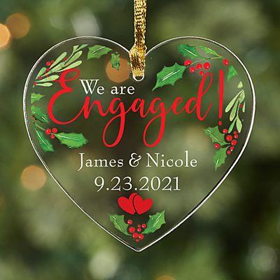 Engaged Acrylic Heart Ornament