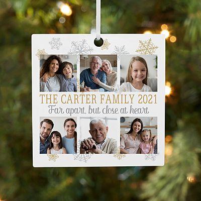Family Zoom Photo Square Ornament