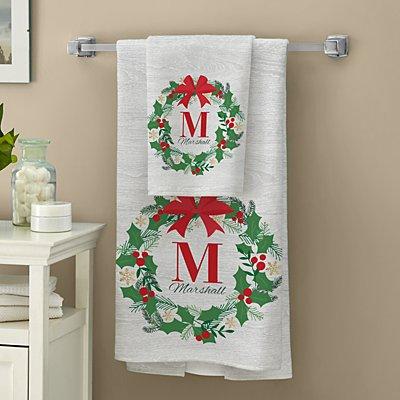 Festive Wreath Initial Bath Towel