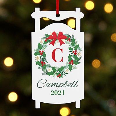 Festive Wreath Initial Sled Ornament