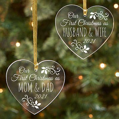 First Christmas As Acrylic Heart Ornament
