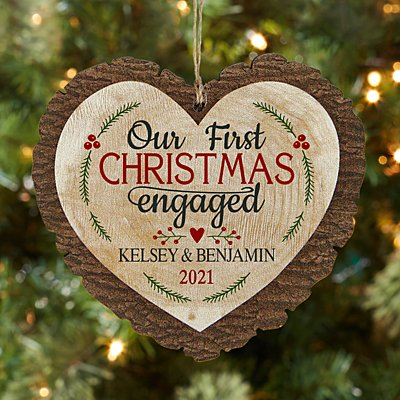 First Christmas Engaged Rustic Wood Heart Ornament