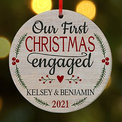 First Christmas Engaged Round Ornament
