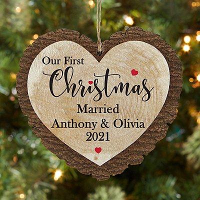 First Christmas Milestone Rustic Wood Heart Ornament