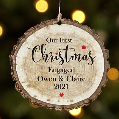 First Christmas Milestone Rustic Wood Round Ornament