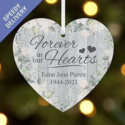Forever in Our Hearts Memorial Heart Bauble