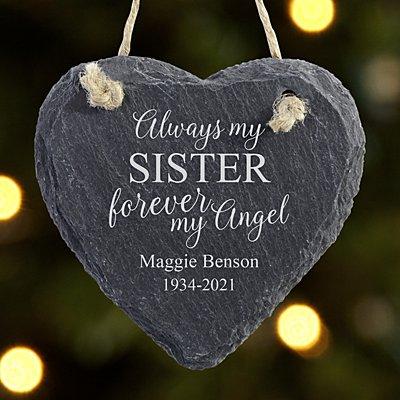Forever My Angel Slate Heart Ornament