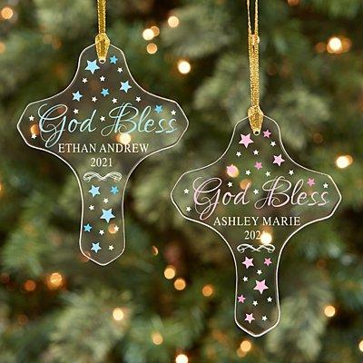 God Bless Acrylic Cross Ornament